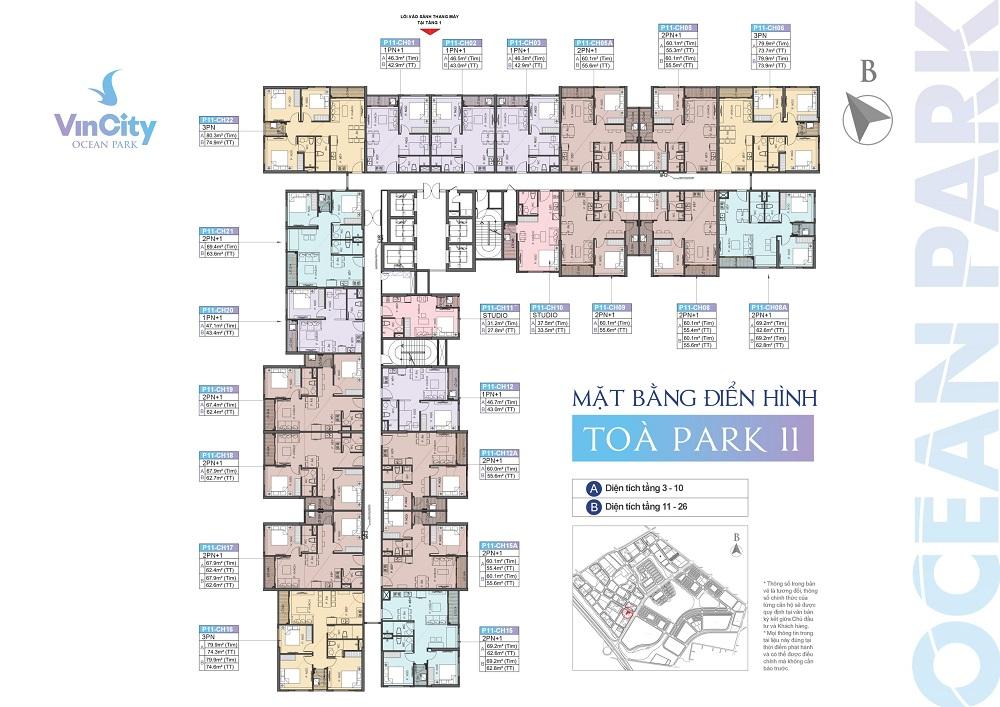 Chi tiết tòa Park 11 (P11) phân khu The Park – VinCity Ocean Park
