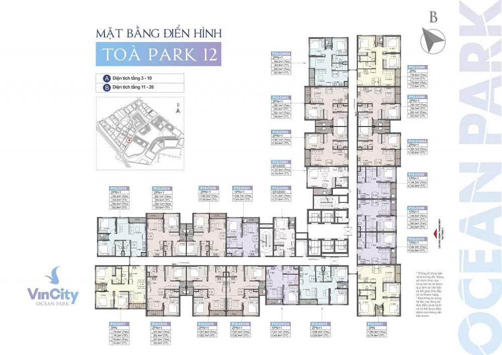 Tòa Park 12 (P12) tại Phân khu The Park – Vincity Ocean Park Gia Lâm
