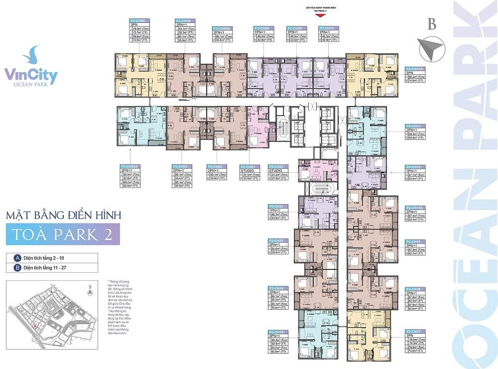 Tòa Park 2 (P2) Phân khu The Park | Khu đô thị VinCity Ocean Park